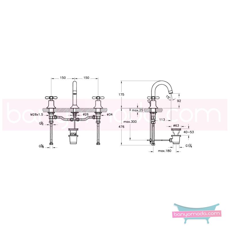 Artema Juno Classic 3 Delikli Lavabo Bataryası (Sifon Kumandalı)  - A41685 90 derece açma kapama klasik anlayışta bir banyo ortamı oluşturmak icin yaratıldı