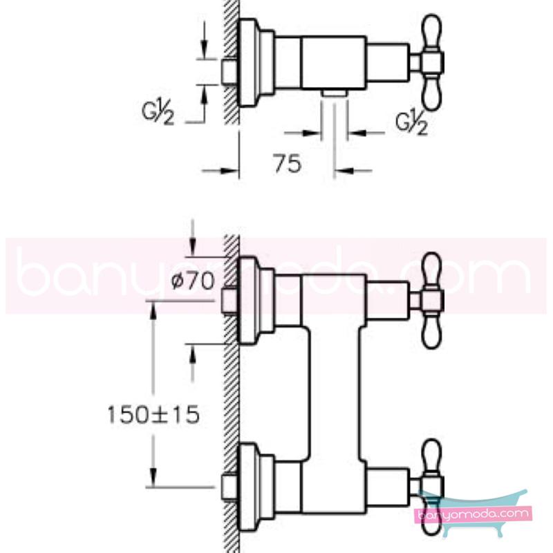 Artema Juno Classic Duş Bataryası - A41689 90 derece açma kapama klasik anlayışta bir banyo ortamı oluşturmak icin yaratıldı