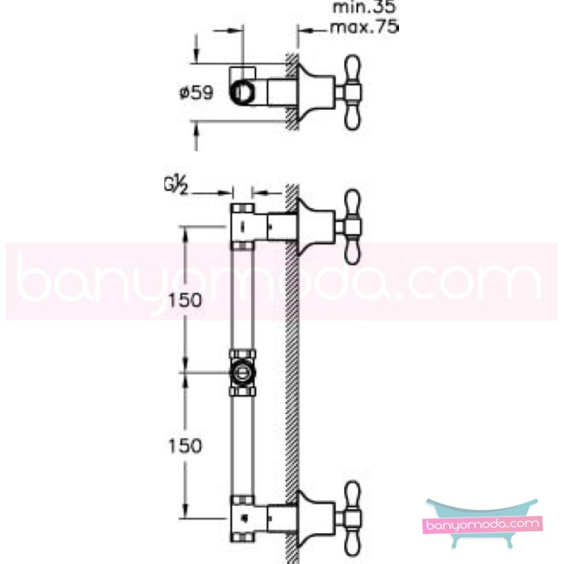 Artema Juno Classic Ankastre Duş Bataryası - A41690 90 derece açma kapama klasik anlayışta bir banyo ortamı oluşturmak icin yaratıldı
