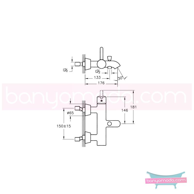 Artema Matrix Banyo Bataryası - A41762 ısı ve debi ayarlı su ve enerji tasarruflu banyoda alışılagelmiş sınırları ortadan kaldıran şık tasarımlı armatür