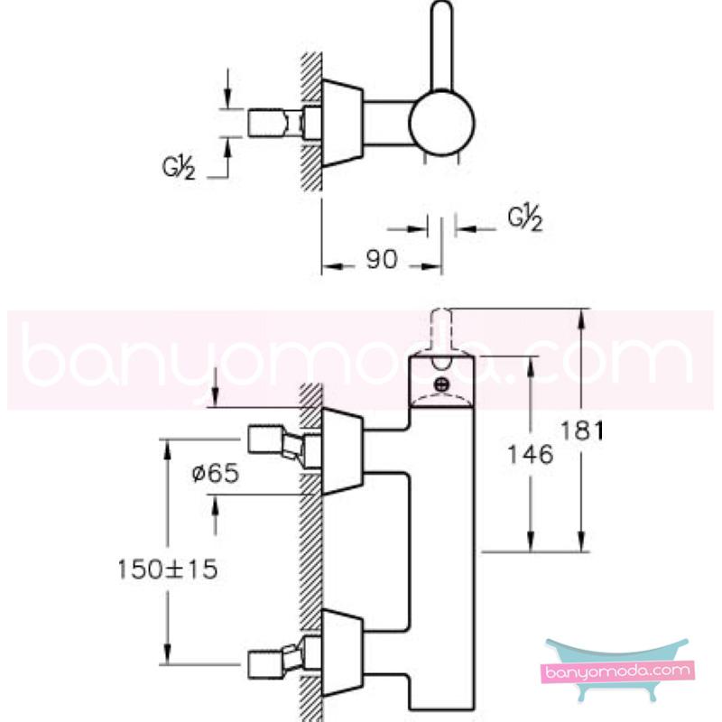 Artema Matrix Duş Bataryası - A41763 ısı ve debi ayarlı su ve enerji tasarruflu banyoda alışılagelmiş sınırları ortadan kaldıran şık tasarımlı armatür