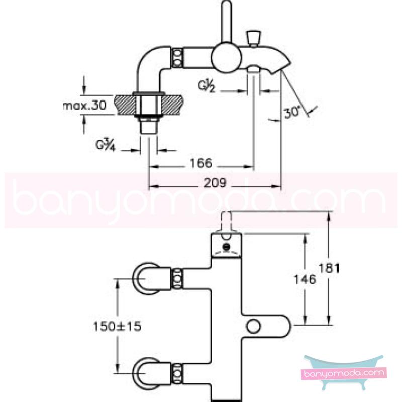 Artema Matrix Küvet Bataryası (Dirsekli) - A41764 ısı ve debi ayarlı su ve enerji tasarruflu banyoda alışılagelmiş sınırları ortadan kaldıran şık tasarımlı armatür