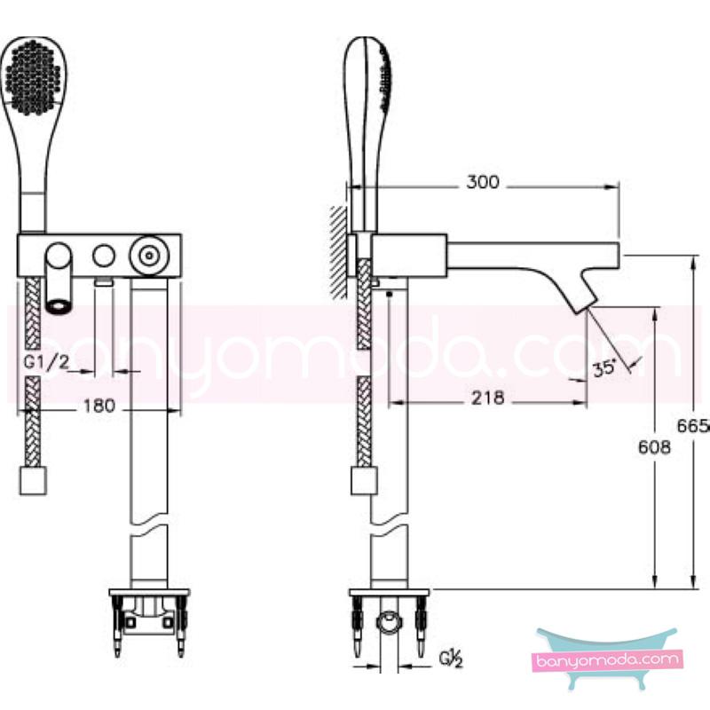 Artema İstanbul Joystick Küvet Bataryası (Yerden-El duşlu) - A41819 joystick kartuş sıradışı dizaynı ileri teknolajisiyle ünlü tasarımcı Ross Lovegrove özel serisinden