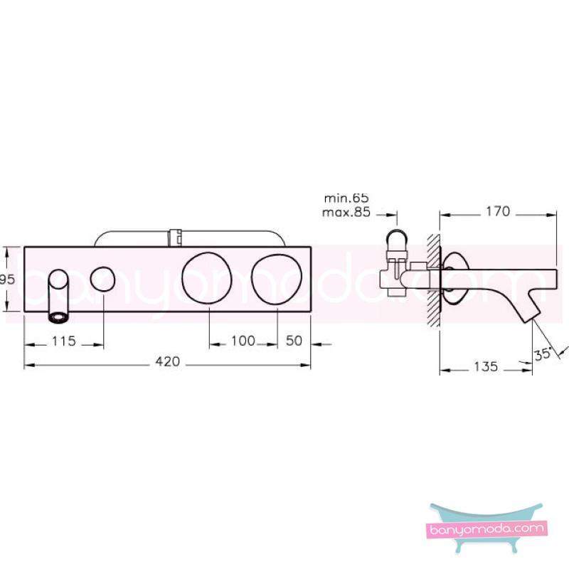 Artema Ankastre Banyo Bataryası - A41821 90 derece açma kapama sıradışı dizaynı ileri teknolajisiyle ünlü tasarımcı Ross Lovegrove özel serisinden
