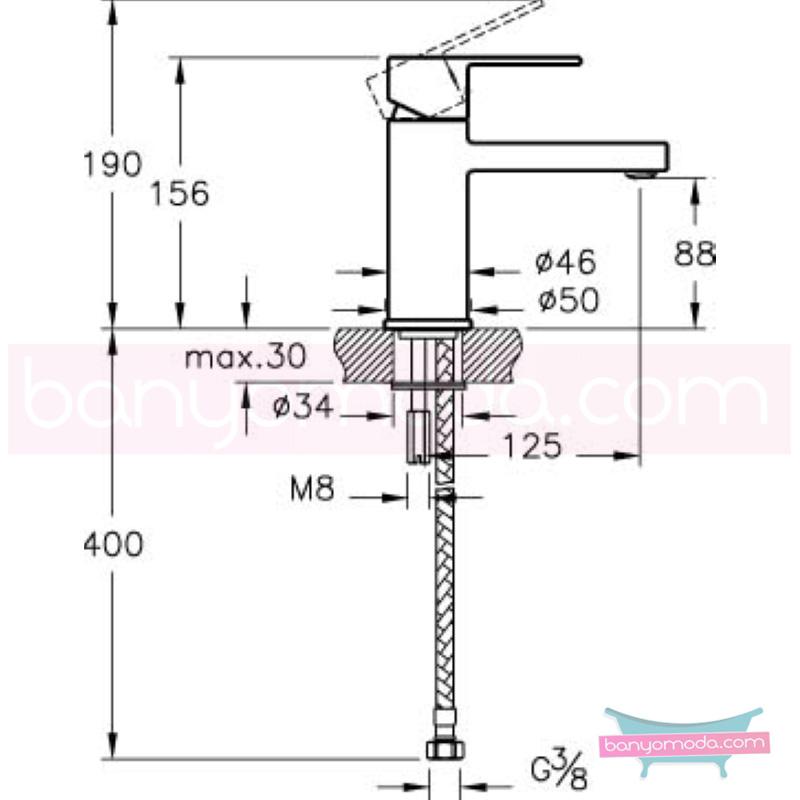 Artema Flo S Lavabo Bataryası - A41936 ısı ve debi ayarlı su ve enerji tasarruflu bedensel engellilere ve doktorlara özel geliştirdiğimiş kolay kullanımlı armatür