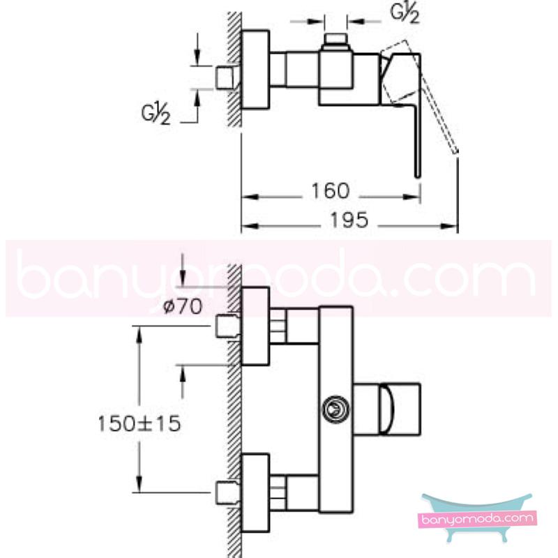 Artema Flo S Duş Bataryası - A41938 ısı ve debi ayarlı su ve enerji tasarruflu bedensel engellilere ve doktorlara özel geliştirdiğimiş kolay kullanımlı armatür