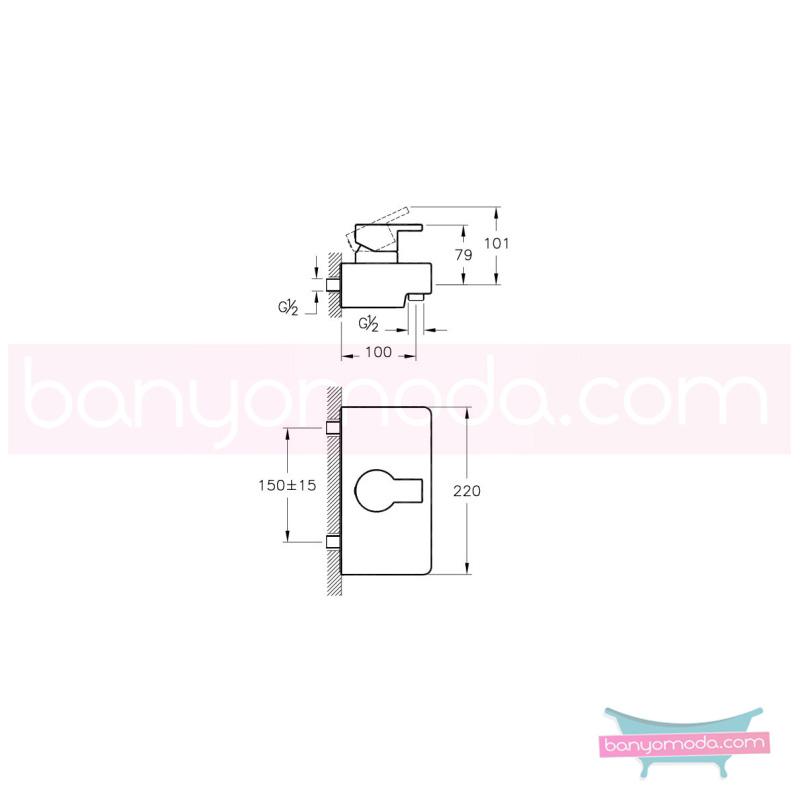Artema Diagon Duş Bataryası - A41951 ısı ve debi ayarlı su ve enerji tasarruflu Noa imzalı yalın tasarımla banyonuza ayrıcalık katar