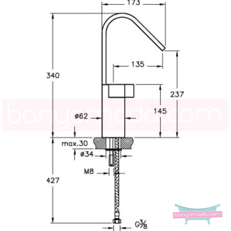 Artema Diagon Lavabo Bataryası (Yüksek) - A41970 one touch kartuş 90 derece açma kapama Noa imzalı yalın tasarımla banyonuza ayrıcalık katar