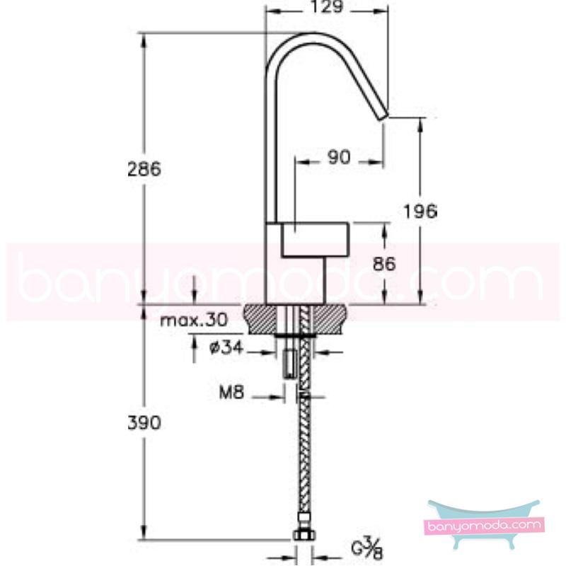 Artema Diagon Lavabo Bataryası - A41971 one touch kartuş Noa imzalı yalın tasarımla banyonuza ayrıcalık katar