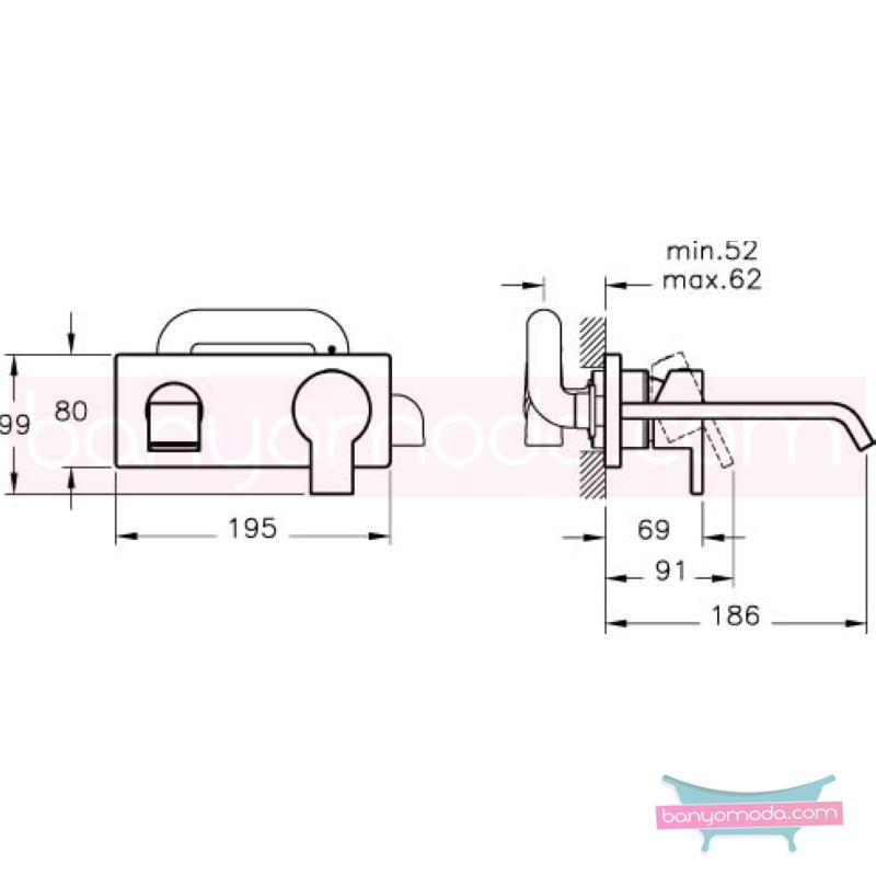 Artema Diagon Ankastre Lavabo Bataryası, Ekstra Su Tasarruflu - A41972STA ısı ve debi ayarlı su ve enerji tasarruflu Noa imzalı yalın tasarımla banyonuza ayrıcalık katar