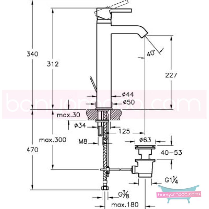 Artema Minimax S Lavabo Bataryası (Yüksek-Sifon Kumandalı), Ekstra Su Tasarruflu - A41992STA ısı ve debi ayarlı su ve enerji tasarruflu minimalist tasarımlı uygun fiyatlı armatür