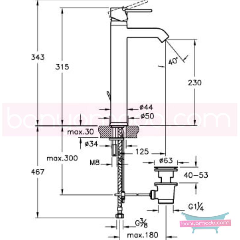 Artema C-Line Lavabo Bataryası (Yüksek - Sifon Kumandalı) - A41993 ısı ve debi ayarlı su ve enerji tasarruflu bataryayı özel kılan incelikli detaylarıyla tasarrufu ön plana çıkarır