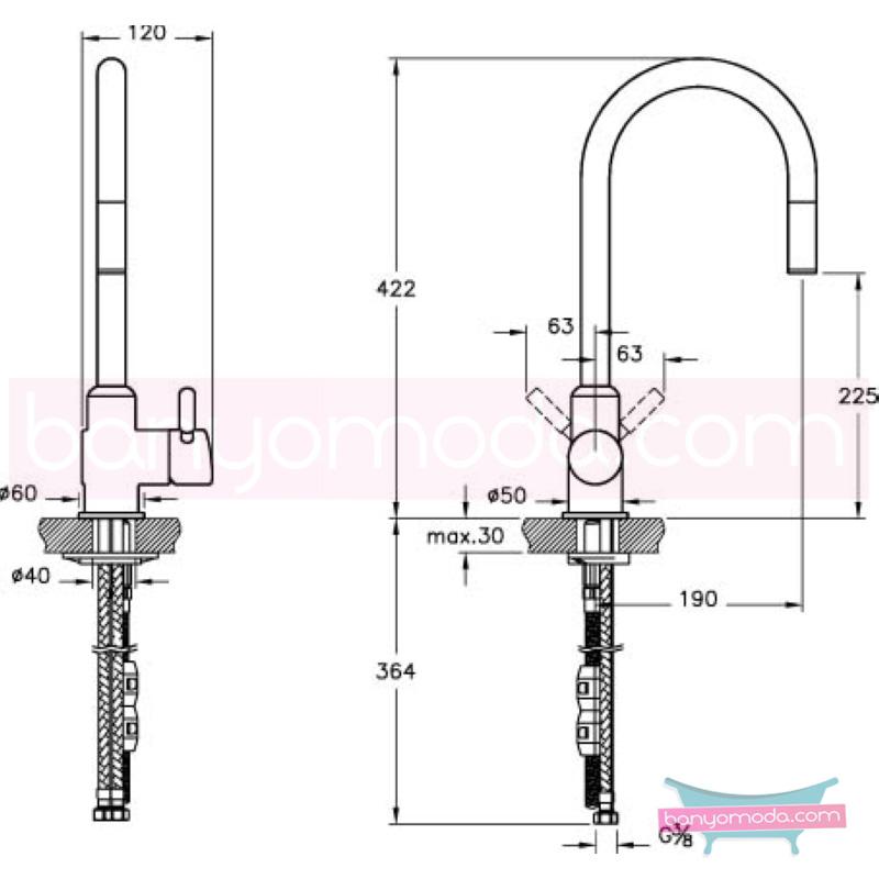 Artema İlia Pull Down Eviye Bataryası (El duşlu) - A42034 ısı ve debi ayarlı su ve enerji tasarruflu özelliklerinin yanı sıra sadelik ve estediği yansıtan armatür