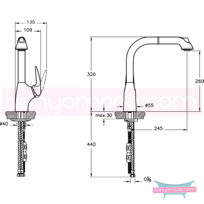 Artema Armix V3 El duşlu Eviye Bataryası - A42055 ısı ve debi ayarlı su ve enerji tasarruflu teknolojisi ve tasarımıyla son derece yenilikçi bir armatür