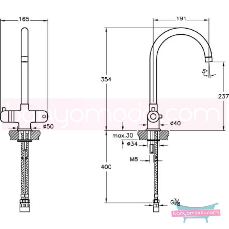 Artema AquaHeat Termostatik Eviye Bataryası - A42067 90 derece açma kapama su ve enerji tasarruflu aşırı sıcak su ile yanma riskini ortadan termostatik armatür