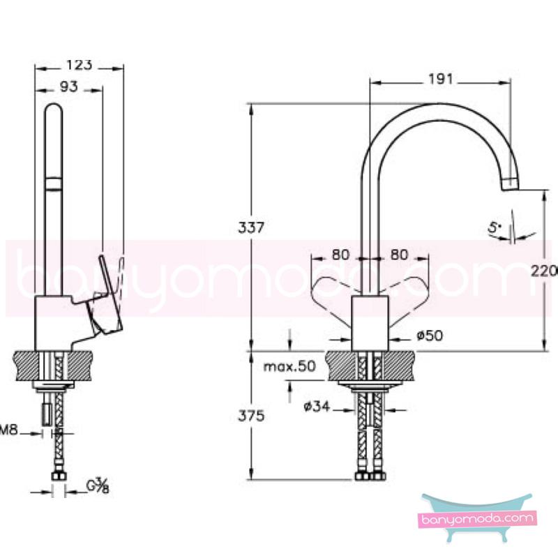Artema D-Line Eviye Bataryası - A42076 açılı perlatörlü ısı ve debi ayarlı su ve enerji tasarruflu