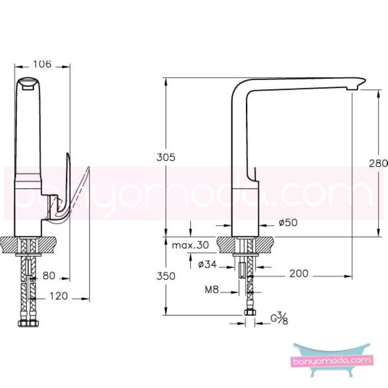 Artema Style X Eviye Bataryası - A42083 ısı ve debi ayarlı su ve enerji tasarruflu