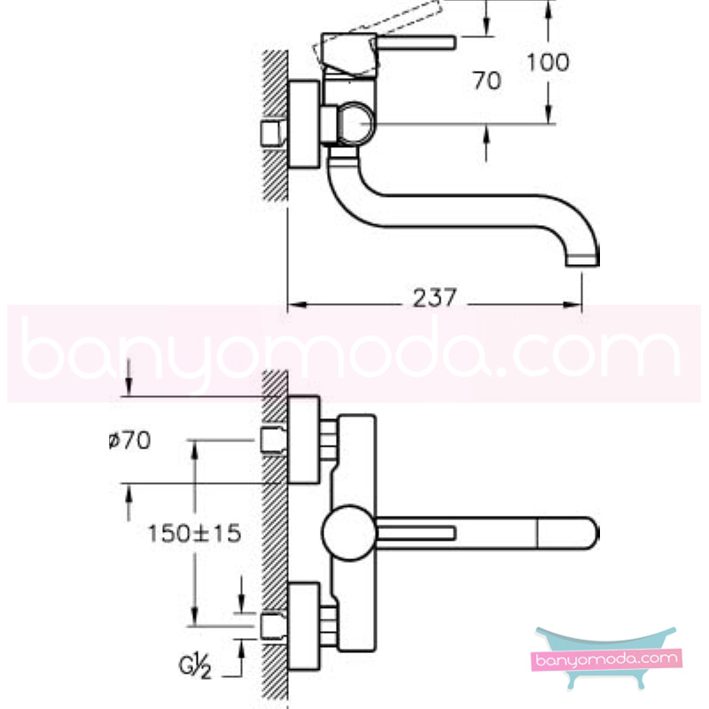 Artema Minimax S Eviye Bataryası (Duvardan) - A42095 ısı ve debi ayarlı su ve enerji tasarruflu minimalist tasarımlı uygun fiyatlı armatür
