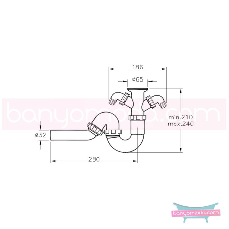 Artema Plastik Lavabo Sifonu Seti - A45113 armatür ve batarya tamamlayıcı üründür