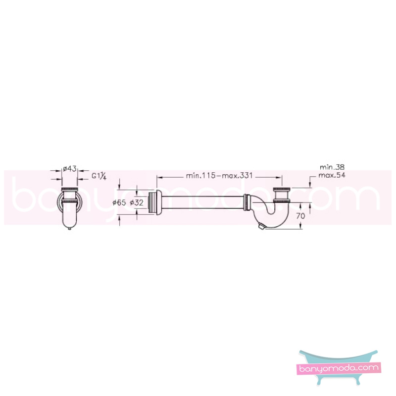 Artema Bide Sifonu Alt Grubu (P Tipi) - A45118 armatür ve batarya tamamlayıcı üründür
