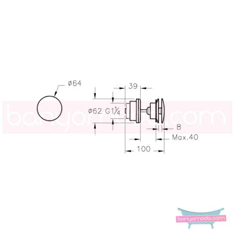 Artema Lavabo Yuvarlak Süzgeci (Universal-Basmalı aç-kapa), Altın - A4514923 armatür ve batarya tamamlayıcı üründür