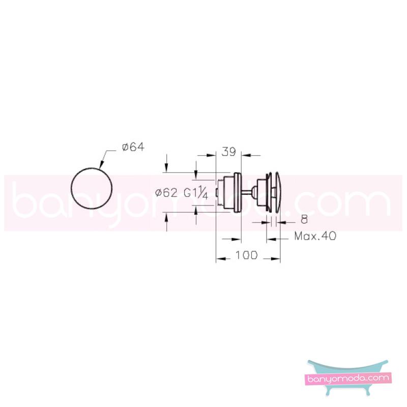 Artema Lavabo Yuvarlak Süzgeci (Universal-Basmalı aç-kapa), Bakır - A4514926 armatür ve batarya tamamlayıcı üründür