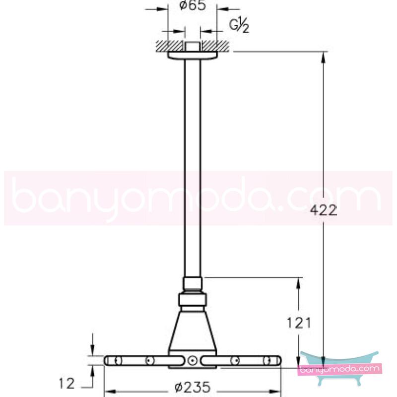 Artema Stella Duş Başlığı (Tavandan) - A45483 Tek Fonksiyonlu:Aquaspray mafsallı  tarafından tasarlanan yağmurda yürüyomuş etkisi yaratan rahatlamanızı sağlayan tavandan duş başlığı