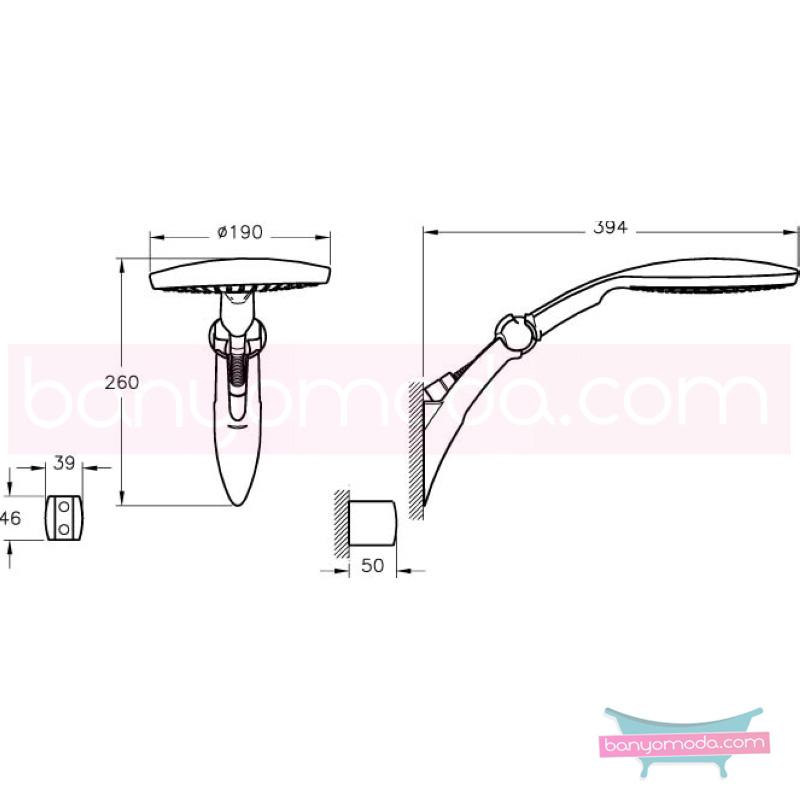 Artema Rain L El Duşu Takımı - A45510 Tek Fonksiyonlu su tasarrufu kireç kırıcılı  tarafından tasarlanan özelliklerinin yanı sıra sadelik ve estediği yansıtan el duş takımı