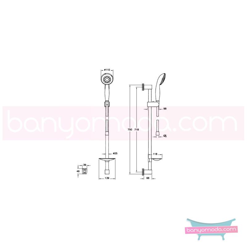 Artema Harmony 5F Sürgülü El Duşu Takımı - A45511 5 Fonksiyonlu su tasarrufu kireç kırıcılı  tarafından tasarlanan sade ve ince görüntsünüyle banyonuza değer katan sürgülü duş takımı