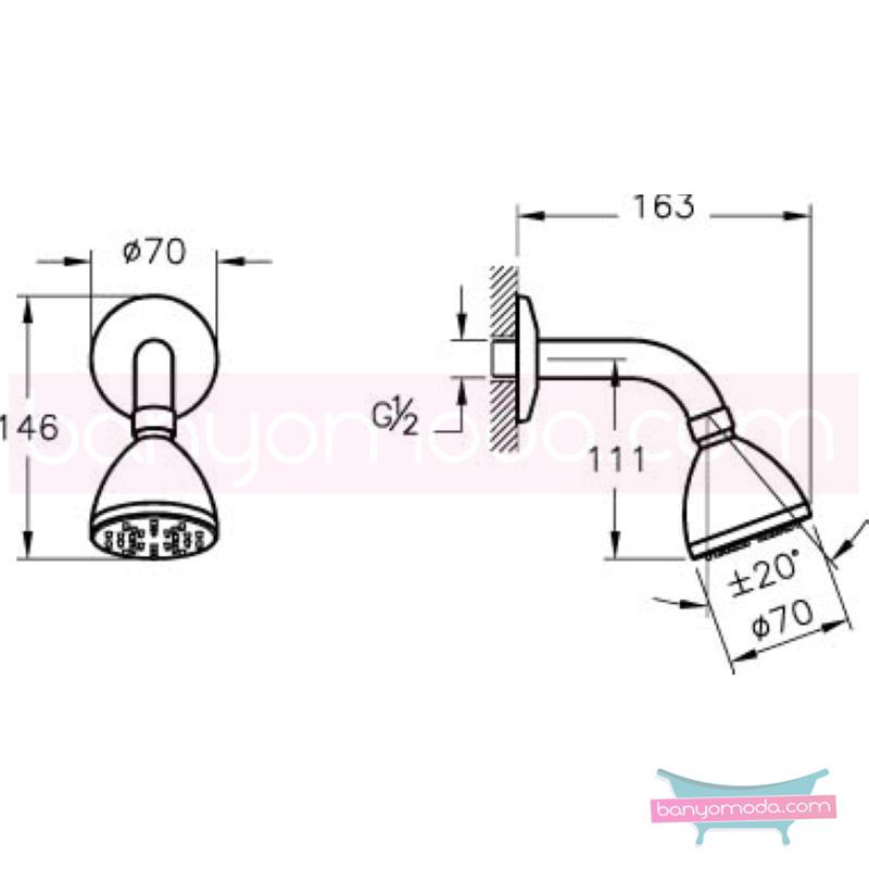 Artema Solo C Duş Başlığı - A45518 Tek Fonksiyonlu:Aquaspray. kireç kırıcılı mafsallı  tarafından tasarlanan özelliklerinin yanı sıra yalın ve kusursuz tasarımıyla banyonuz estetik görünüme kavuşur