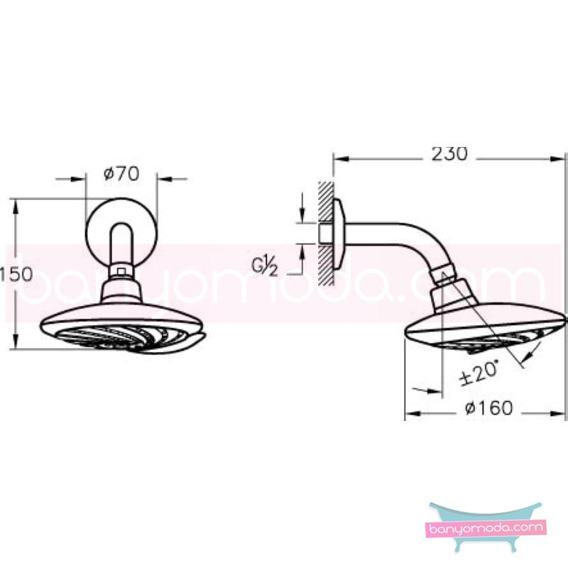 Artema Samba 5F Duş Başlığı (Duvardan) - A45519 5 Fonksiyonlu su tasarrufu kireç kırıcılı mafsallı  tarafından tasarlanan özelliklerinin yanı sıra yalın ve kusursuz tasarımıyla banyonuz estetik görünüme kavuşur