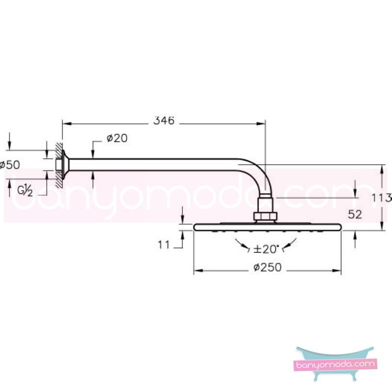 Artema Salsa Duş Başlığı (Duvardan) - A45520 Tek fonksiyonlu:Aquarain su tasarrufu mafsallı  tarafından tasarlanan özelliklerinin yanı sıra yalın ve kusursuz tasarımıyla banyonuz estetik görünüme kavuşur