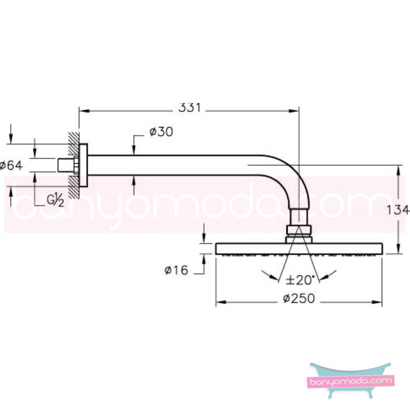 Artema Vichy XL Duş Başlığı (Duvardan) - A45529 Tek Fonksiyonlu:Aquarain. su tasarrufu kireç kırıcılı mafsallı  tarafından tasarlanan özelliklerinin yanı sıra yalın ve kusursuz tasarımıyla banyonuz estetik görünüme kavuşur