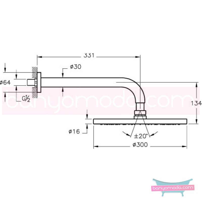 Artema Vichy XXL Duş Başlığı (Duvardan) - A45531 Tek fonksiyonlu:Aquarain. su tasarrufu kireç kırıcılı mafsallı  tarafından tasarlanan özelliklerinin yanı sıra yalın ve kusursuz tasarımıyla banyonuz estetik görünüme kavuşur