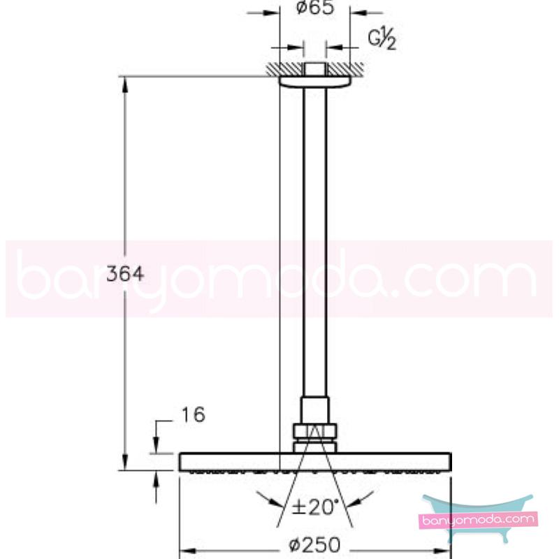 Artema Vichy XL Duş Başlığı (Tavandan) - A45532 Tek Fonksiyonlu:Aquarain. su tasarrufu kireç kırıcılı mafsallı  tarafından tasarlanan yağmurda yürüyomuş etkisi yaratan rahatlamanızı sağlayan tavandan duş başlığı