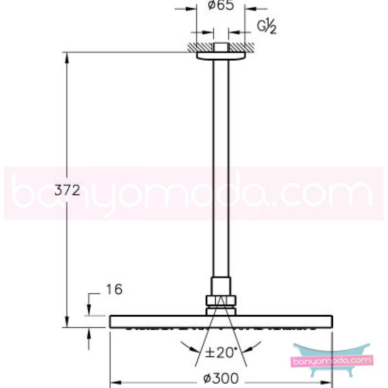Artema Vichy XXL Duş Başlığı (Tavandan) - A45533 Tek Fonksiyonlu:Aquarain. su tasarrufu kireç kırıcılı mafsallı  tarafından tasarlanan yağmurda yürüyomuş etkisi yaratan rahatlamanızı sağlayan tavandan duş başlığı
