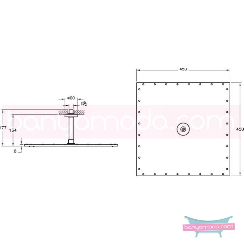 Artema Layer S Duş Başlığı - A45536 Tek Fonksiyonlu:Aquarain. su tasarrufu kireç kırıcılı mafsallı  tarafından tasarlanan yağmurda yürüyomuş etkisi yaratan rahatlamanızı sağlayan tavandan duş başlığı
