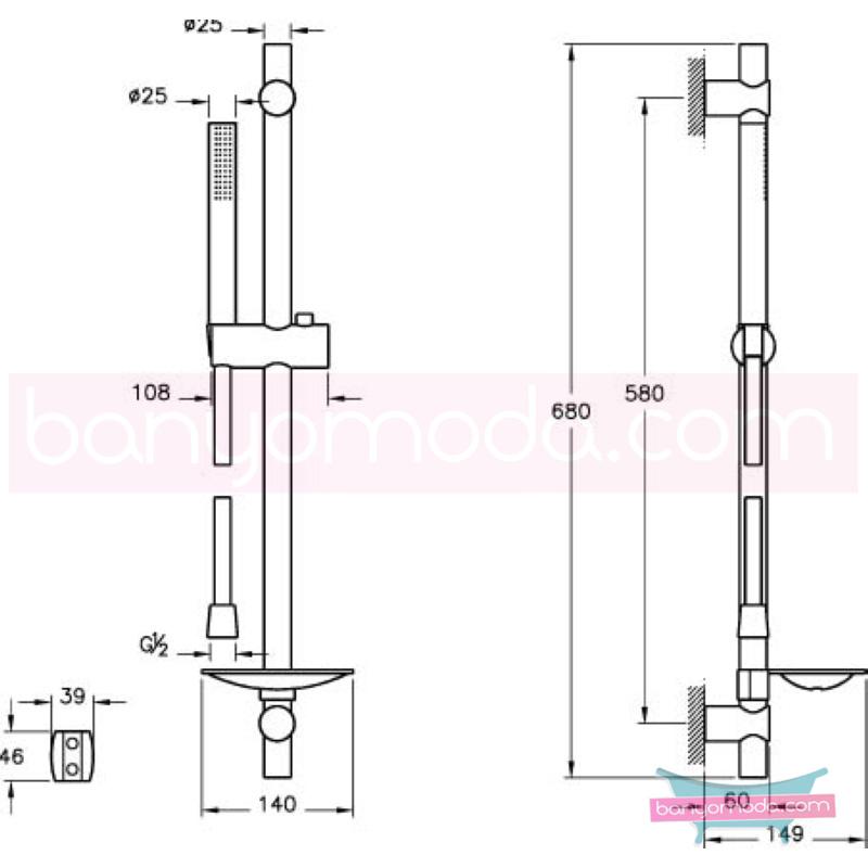 Artema Pure Sürgülü El Duşu Takımı - A45544 Tek fonksiyonlu su tasarrufu Indeed tarafından tasarlanan sade ve ince görüntsünüyle banyonuza değer katan sürgülü duş takımı
