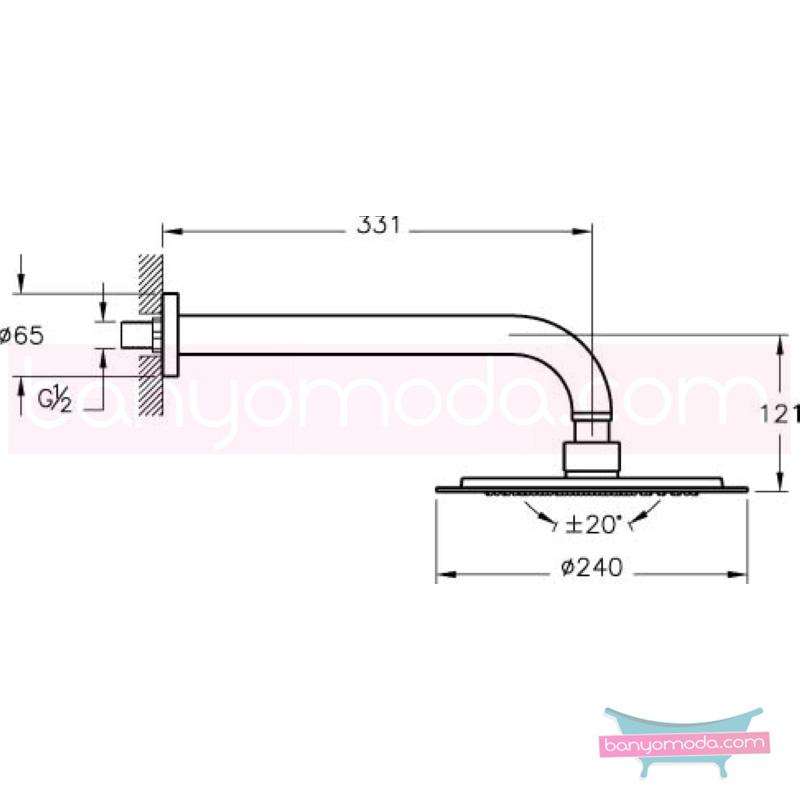 Artema Lite Duş Başlığı-Duvardan - A45547 Tek fonksiyonlu:Aquarain su tasarrufu kireç kırıcılı mafsallı  tarafından tasarlanan özelliklerinin yanı sıra yalın ve kusursuz tasarımıyla banyonuz estetik görünüme kavuşur