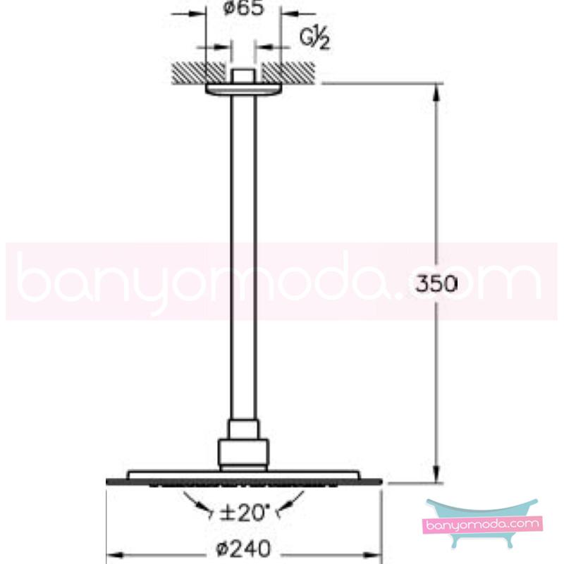 Artema Lite Duş Başlığı-Tavandan - A45548 Tek fonksiyonlu:Aquarain su tasarrufu kireç kırıcılı mafsallı  tarafından tasarlanan yağmurda yürüyomuş etkisi yaratan rahatlamanızı sağlayan tavandan duş başlığı