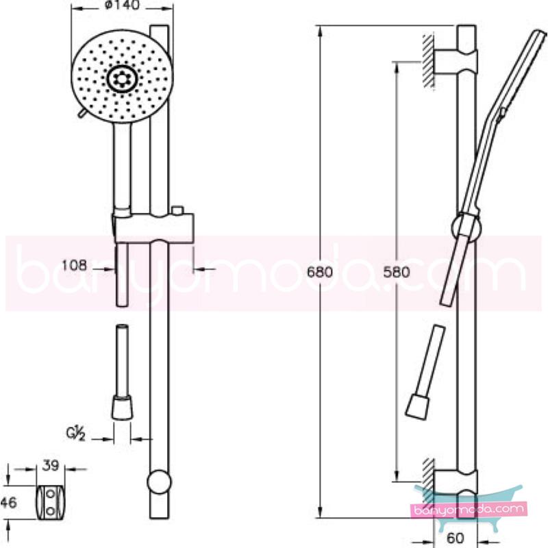 Artema T4 2F Sürgülü El Duşu Takımı - A45550 2 Fonksiyonlu su tasarrufu  tarafından tasarlanan sade ve ince görüntsünüyle banyonuza değer katan sürgülü duş takımı