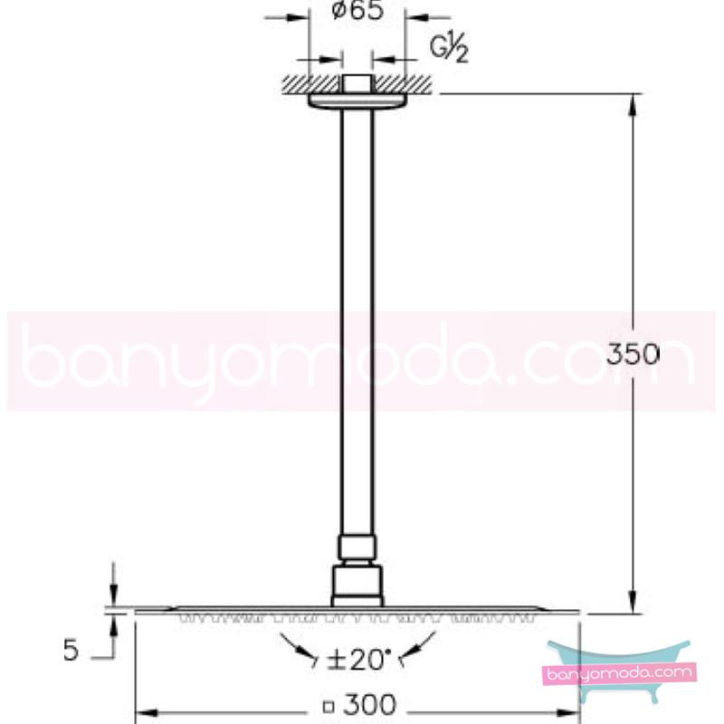 Artema Lite LS Duş Başlığı (Tavandan) - A45606 Tek fonksiyonlu Aquarain su tasarrufu kireç kırıcılı mafsallı  tarafından tasarlanan yağmurda yürüyomuş etkisi yaratan rahatlamanızı sağlayan tavandan duş başlığı