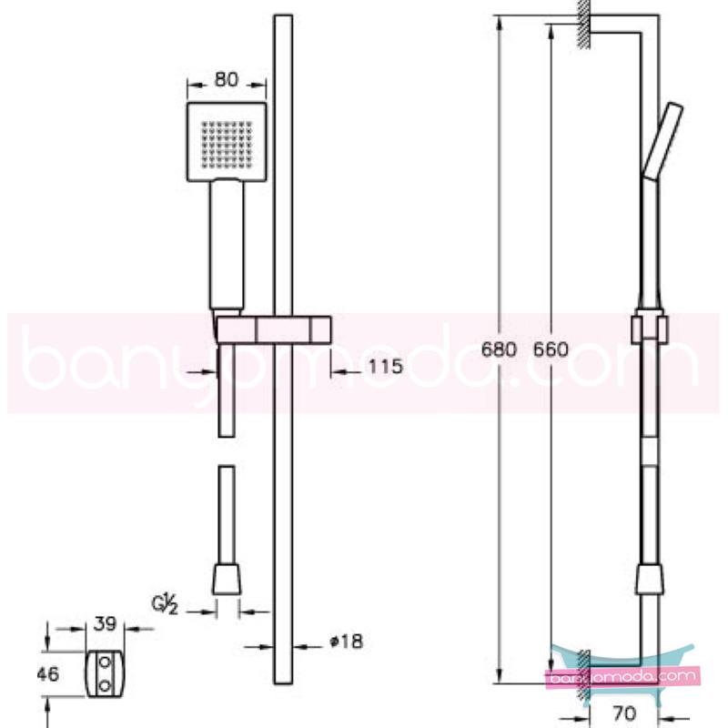 Artema Q-Line Sürgülü El Duşu Takımı - A45610 Tek Fonksiyonlu su tasarrufu  tarafından tasarlanan sade ve ince görüntsünüyle banyonuza değer katan sürgülü duş takımı