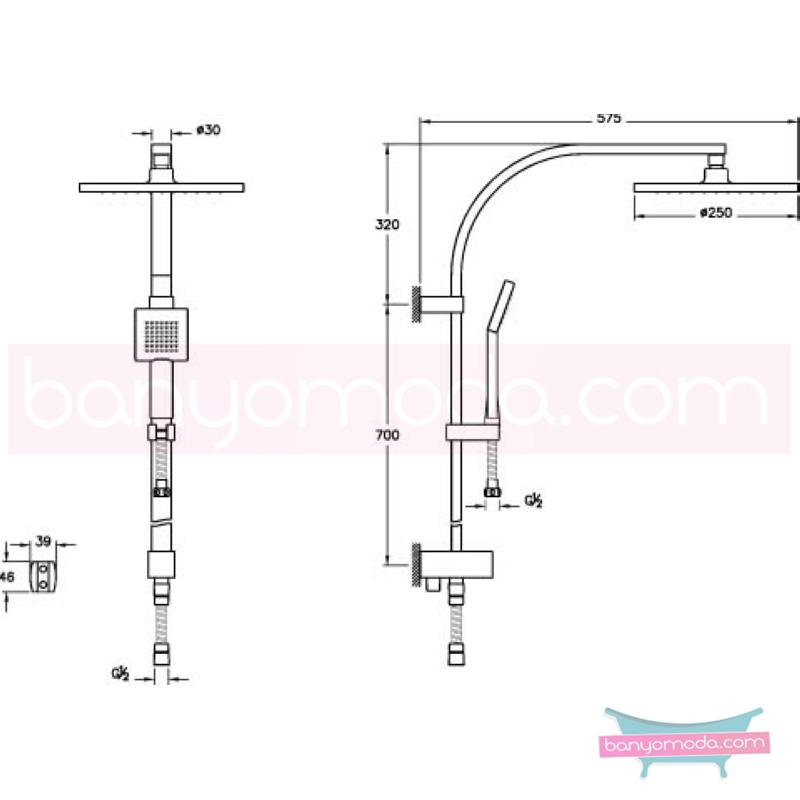 Artema System Rain LS30 Duş Kolonu - A45611  su tasarrufu mafsallı  tarafından tasarlanan sıva altı montaj yapılmadan kullanılan şık tasarımlı duş kolonu