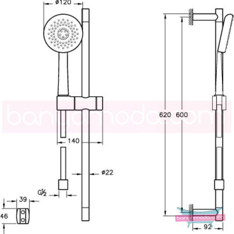 Artema Style X 3F Sürgülü El Duşu Takımı - A45612 3 Fonksiyonlu su tasarrufu kireç kırıcılı  tarafından tasarlanan sade ve ince görüntsünüyle banyonuza değer katan sürgülü duş takımı
