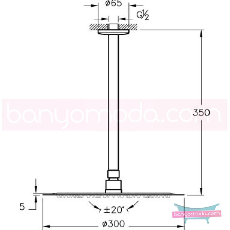 Artema Lite LC Duş Başlığı (Tavandan) - A45613 Tek fonksiyonlu Aquarain su tasarrufu kireç kırıcılı mafsallı  tarafından tasarlanan yağmurda yürüyomuş etkisi yaratan rahatlamanızı sağlayan tavandan duş başlığı