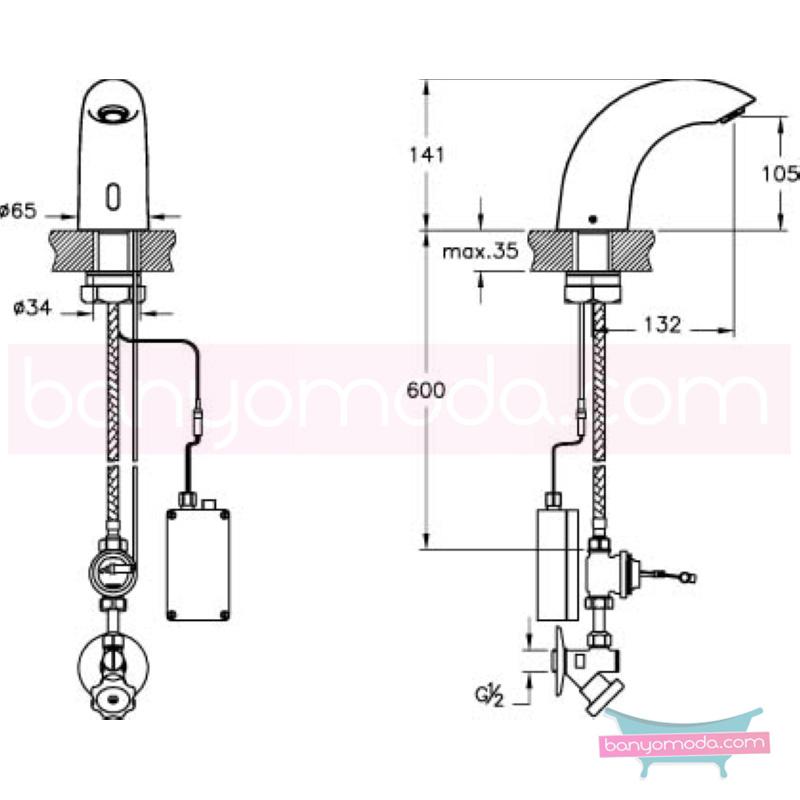 Artema AquaSee Fotoselli Lavabo Bataryası (Tek su girişli, Pilli) - A47001 el değmeden su akışı sağlayan hijyenin önem kazandığı teknolojik armatür