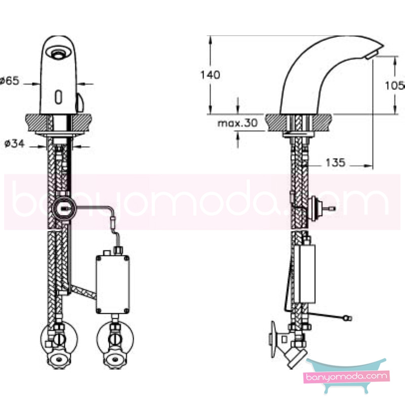 Artema AquaSee Fotoselli Lavabo Bataryası (Çift su girişli, Pilli) - A47002 su ve enerji tasarruflu el değmeden su akışı sağlayan hijyenin önem kazandığı teknolojik armatür