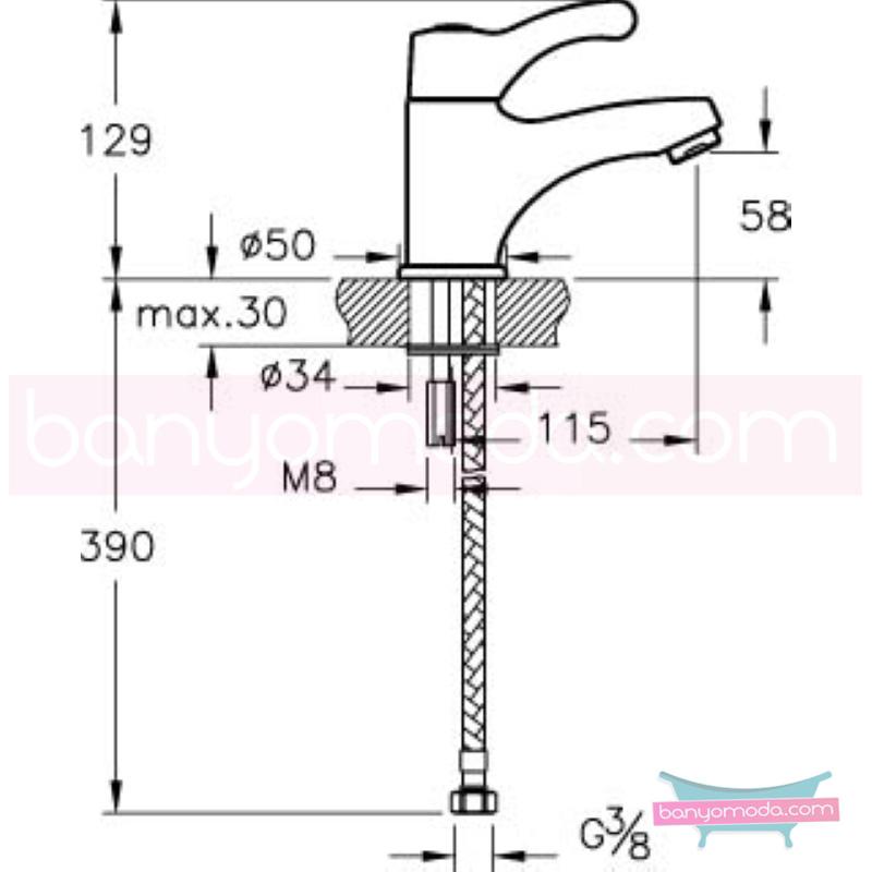 Artema AquaMed Lavabo Bataryası (Bedensel Engelli Kullanımına Uygun) - A47012 ısı ve debi ayarlı bedensel engellilere ve doktorlara özel geliştirdiğimiş kolay kullanımlı armatür