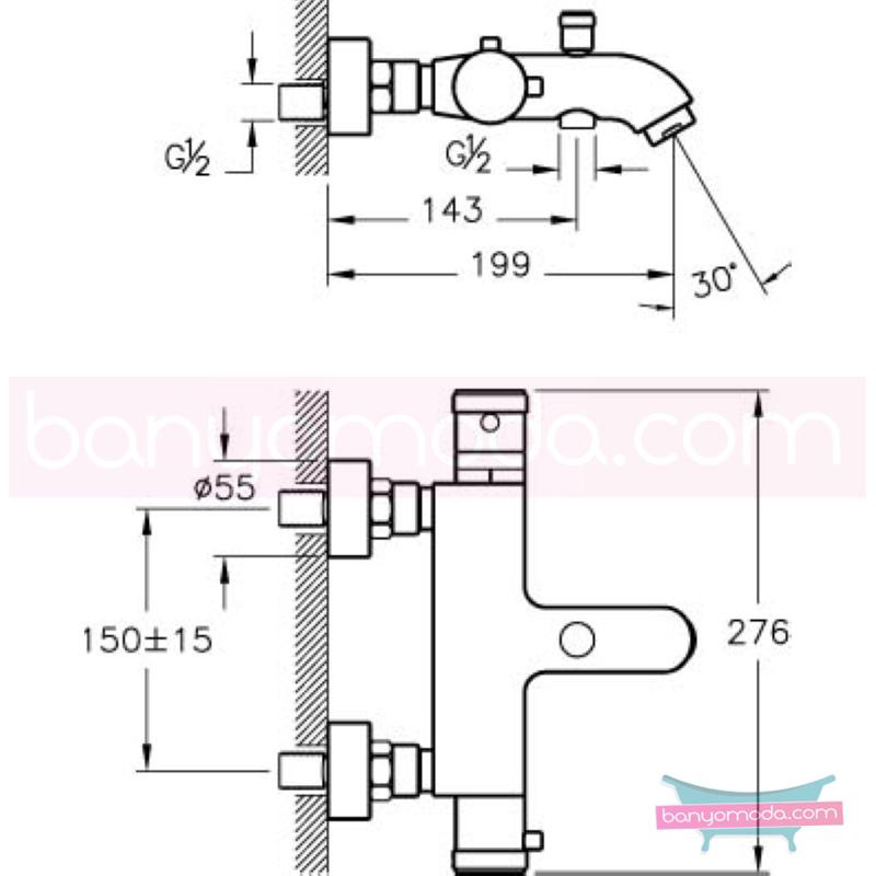 Artema AquaHeat Termostatik Banyo Bataryası - A47015 90 derece açma kapama su ve enerji tasarruflu aşırı sıcak su ile yanma riskini ortadan termostatik armatür